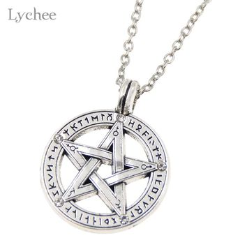 Lychee Vintage Supernatural Pentacle Pentagram Pendant Necklace Witch Protection Star Amulet Necklace Jewelry for Men Women