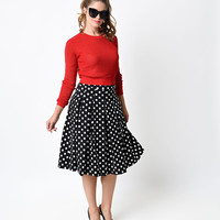1950s Style Black & White Dot Crepe Box Pleat Swing Skirt