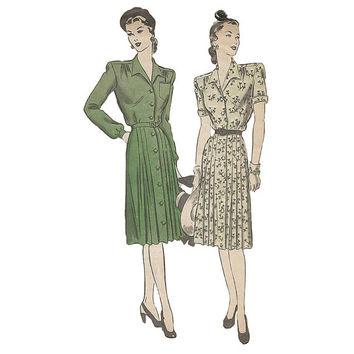 1940s Pleated Shirtwaist Dress Hollywood 1651 Bust 36 Vintage Sewing Pattern