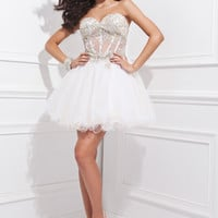Tony Bowls TS21474 - White Strapless Beaded Cocktail Dresses Online