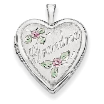 14K 20mm White Gold Enamel Flowers Grandma Heart Locket XL615