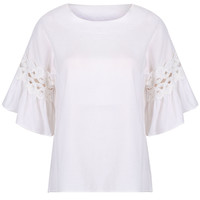 White Cut Out Detail Belle Sleeve Blouse