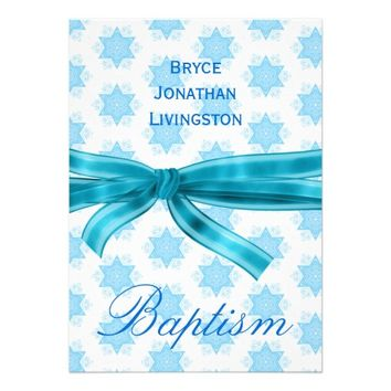 Baby Boy Christening Blue Stars B561 Custom Invitation