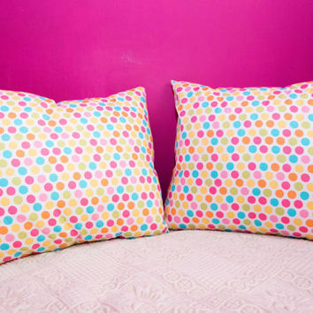 Polka Dots Pillow.20x20 inch.Decorator Pillow Covers.Printed Fabric Front and Back.Housewares.Home Decor.Cushions.cm