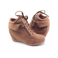 Tan Suede Sneaker with Wedge and Zipper Detail