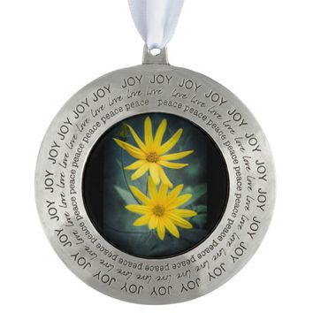 Two yellow flowers of Jerusalem artichoke Pewter Ornament