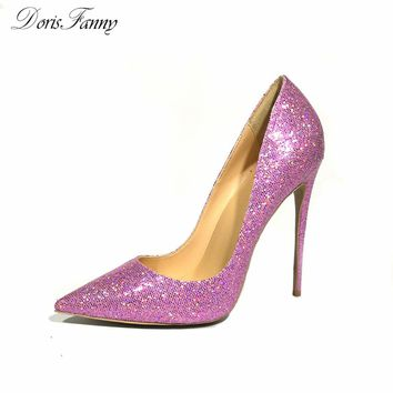Purple Glitter Wedding Shoes 2017 Autumn womens pumps bling bling sexy stiletto high heels zapatos de mujer Dorisfanny