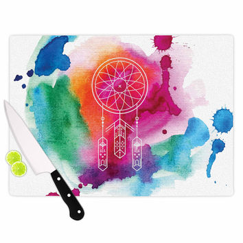 "KESS Original ""Dream In Color"" Rainbow Watercolor Cutting Board"