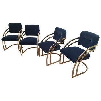 Pre-owned Vintage Brass Cantilever Chairs - Set of 4