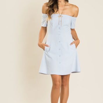 Penelope Chambray Off the Shoulder Dress