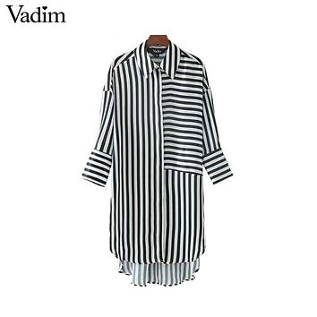 Vadim chic casual striped loose long shirts three quarter sleeve turn down collar high street blouse female oversized tops