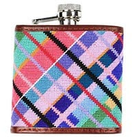 Limited Edition Longshanks Madras Needlepoint Flask by Smathers & Branson
