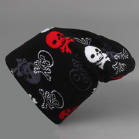 2016 New Skull Printed Knitted Beanie Skullies & Beanies Hat Bonnet Cap Skullies Hats Beanies Stocking Gorros For Men Women