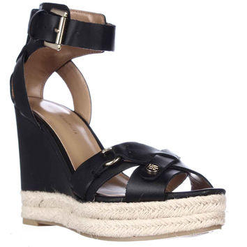 Tommy Hilfiger Velvet Espadrille Wedge Sandals - Black