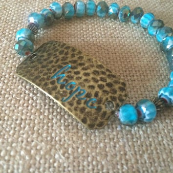 HOPE Bracelet, Turquoise Beaded Bracelet, Copper Bracelet, Copper HOPE Turquoise Bracelet, Stretch Bracelet