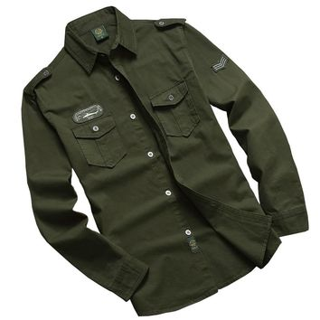 Tactical Shirt Long Sleeve Military Clothes For Men US Army Pilot Shirts Hunting Combat Cotton Clothing Man Outdoor Cargo Shirt