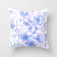 blue purple pink hydrangea Throw Pillow by Color And Color