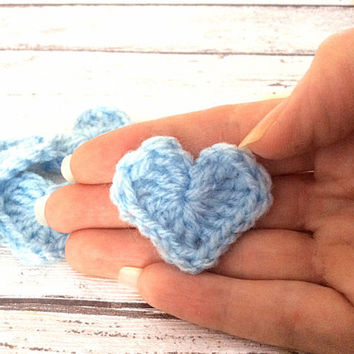 Baby blue crocheted hearts appliqués embellishments motifs supplies