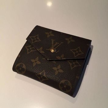 ICIKHI2 Auth LOUIS VUITTON Elise Trifold Wallet Purse Monogram Leather