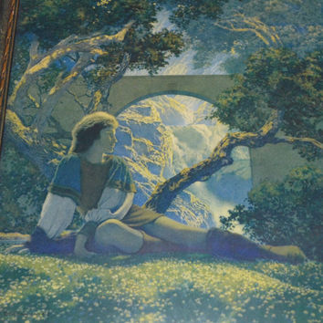 Maxfield Parrish Print / The Knave /  The Prince / 1925 / House of Art / Art Nouveau Print / Blue Print