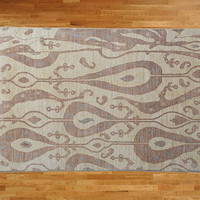 5 x 8 Hand Knotted Ivory Ikat Oriental Rug