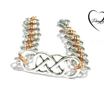 Double Infinity Bracelet - Helm Chainmaille Bracelet - Aluminum, Copper, Stainless Steel