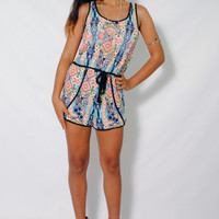 (amg) Abstract print baby rib belted romper
