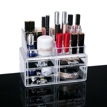 Beauty Vanity Jewellery Clear Cosmetic Display Stand And Organizer Rack Holder 23.5x10x10.5 CM