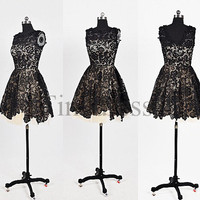 Custom Black Lace Short Prom Dresses Evening Dresses Party Dresses Bridesmaid Dresses 2014 Homecoming Dresses Cocktail Dresses