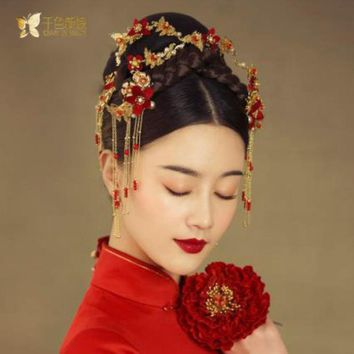 Chinese bride headdress costume gold butterfly red hairpin wedding  hairwear and earrings photography accessories chanyun