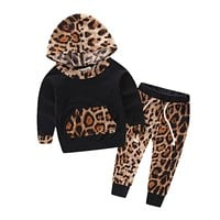 Leopard Baby Girls Clothes Infant Bebe Hooded Sweatshirt Tops+Pants 2pcs Outfits Kids Clothing Set