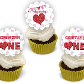 Valentine 1st Birthday Party Cupcake Toppers - Sweetheart 1st Birthday Girl Cupcake Topper - Red Glitter - Hearts - ONE Party - Girls