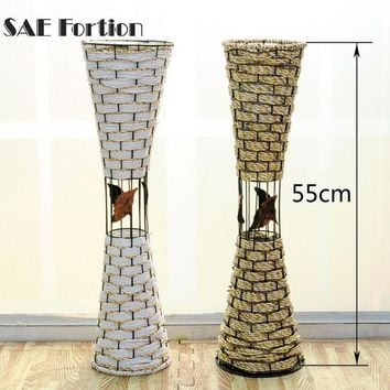 55 cm Two Color Floor Rattan Plaited Vase Balcony Office Living Room Wall Hanging Decoration Pastoralism Flower Vase FZA4642