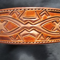 Large leather dog collar, Celtic style design collar , Dog Collar , large dogs , Pitbull terrier dogs , Labradors