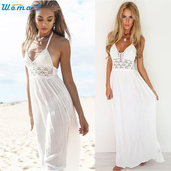 Swimwear Women Beach Cover Up Long Dress Bathing Suit Beach tunic Crochet Backless Straps Halter Cover-Ups Swimsuit Pareo Decc28