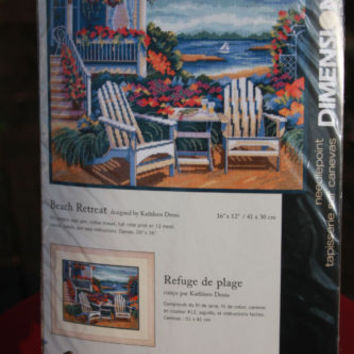 Needlepoint Kit ~ Dimensions Tranquil Seaside Floral Beach Retreat #20070