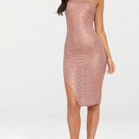 Rose Gold Ribbed Extreme Split Bandeau Midi Dress