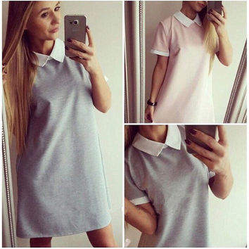 Women's Summer Mini Short Sleeve Turn-down Collar Casual Hotel Maid School Shirt Dress