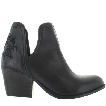 Musse & Cloud Ashila - Black Leather Embroidered Western Ankle Bootie