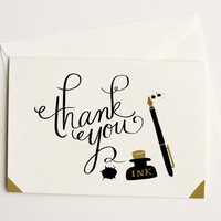 $16.50 Ink and Blots Thank You Card 10pcs by QuillandFox on Etsy