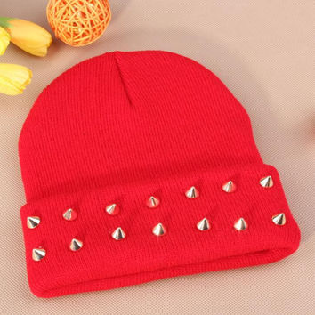 Gothic Punk Industrial Emo Edm Ebm Rave Rock Metal Stud Bullet Autumn Winter Warm Womens & Mens Knitted Beanie Red Cuffed Skully Hat