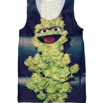 Harajuku Women Men tops Oscar the Grouch jersey Oscar the Nug Tank Top Characters Weed leaf hemp Sexy Vest  shirt