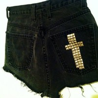 Studded Cross High Waisted Shorts from Seek Vintage