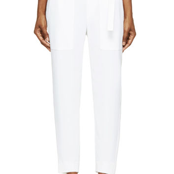 Helmut Lang White And Cream Torsion Silk Trousers