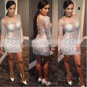 Vestidos coctel 2017 Sparkly Sequined Rhinestone Cocktail Dresses Sheer See Through Long Sleeves Short Prom Dress Party Gowns