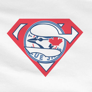 White Dyesub Premium Custom Toronto Bluejays Blue Jays Superteam Superman Tee Tshirt T-Shirt Batman Wonder Woman