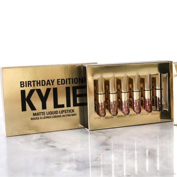 Kylie matte Gold the LIMITED EDITION KYLIE birthday Collection  6pcs/set