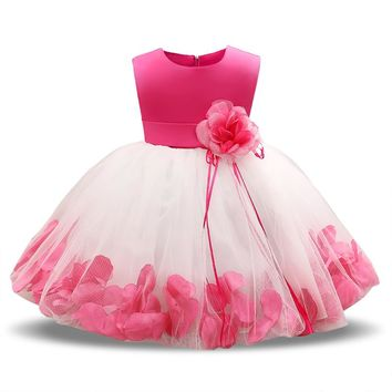 Fairy Petals Baby Girls Flower Wedding Dress 1 Year Birthday Outfits Tutu Newborn Baby Girl Baptism Clothes Bebes Christmas Gift