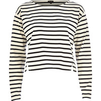 River Island Womens Cream stripe boxy top