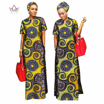 2017 african styles clothing Women Riche Bazin Straight 100% Cotton Material Free Head Scarf  Lady Long Dress Maxi Size WY843